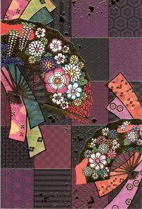 Greeting Card - Fan Gold w/Flowers - Blank - Made In Japan  F/S