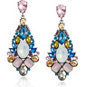 Vintage Women Rhinestone Crystal Gem Flower Ear Stud Drop Dangle Earring Jewelry