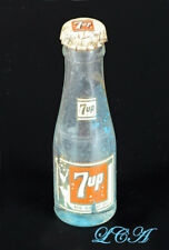Scarce TINY old 7up miniature SODA BOTTLE w/ Swim Suit girl & mini 7 UP cap