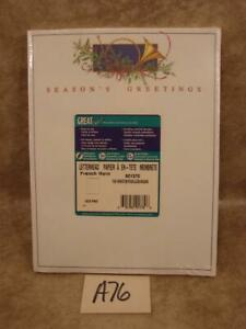 A76 VINTAGE LETTERHEAD SEASON'S GREETINGS FRENCH HORN 100 SHEETS ACID FREE PAPER