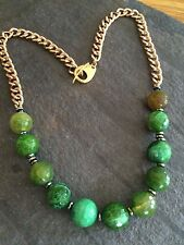 DESIGNER EMERALD GREEN GEMSTONE NECKLACE LONG GOLD AGATE BEADED JEWELLERY GIFT
