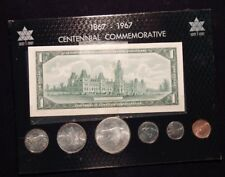 1967 Canada Centennial Complete Coin Set with 1867-1967 $1 Banknote Set Combo