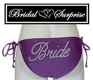 BRIDE BIKINI PURPLE PETAL BRIDE IN CLEAR RHINESTONES GIFT W/ PURCHASE C-VID