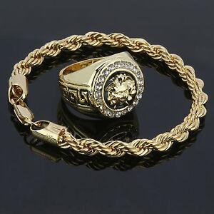 14k Gold Plated Rope Bracelet & MEDUSA HEAD Cz Round Hip Hop Style Pinky Ring