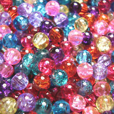 500 4mm Round Crackle Glass Beads Mixed Colours SALE!