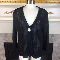 WILLOW Anthropologie L Black Floral Crochet Knit Drawstring Waist Cardigan