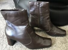 CLARKS women leather shoes heels ankle boots size 5UK 38E 7w US brown