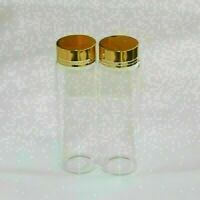 15Pcs 50ml 30x100 Tiny Small Empty Clear Bottles Glass Vials With Gold Screw Cap