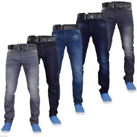 Mens Crosshatch Slim Fit Stretch Jeans Denim Pants with Free Belt Big Tall Sizes