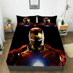 Iron Man Deep Pocket Fitted Sheet 3PCS Bed Sheet Pillowcases Bedding Set Gift