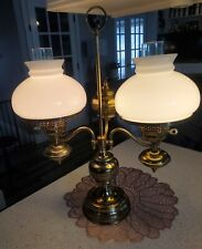 """Vintage Double Heavy Brass Student Lamp Milkglass Shades 23"""" Tall"""