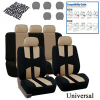 Universal Breathable Seat Cover Set 5 Seat Beige Four Seasons For Car Truck SUV