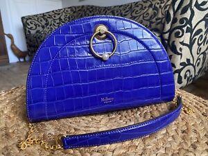 Mulberry Crescent Clutch Bag Detachable Shoulder Strap Cobalt Blue Immaculate