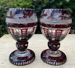 Fantastic Pair of Antique Bohemian Ruby Etched and Cut Glass Vases Heavy
