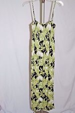 Pineapple Moon Black and Green Hawaiian Floral Mid Calf Sundress Size L