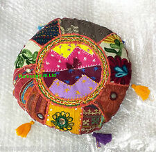 "Round Pillow Embroidered Stuffed Plush Cushion Patchwork 11"" Bohemian Back Rest"