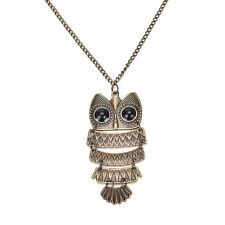 hot Women Bronze Rhinestone OWL Animal Hollow Pendant Long Chain Necklace