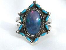 Vintage Zuni Tekala Petit Point Turquoise & Boulder Opal Sterling Ring Size 6.5