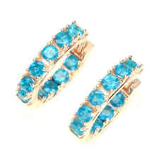 Round Cut 3mm Aaa Neon Blue Apatite Natural 925 Sterling Silver Earrings
