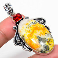 "Handmade Bumble Bee Jasper Gemstone 925 Sterling Silver Pendant 2.25"" #P17857"