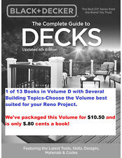 $.80 Cents/Book! Vol D is 13 Diy Books Decks/Gazebos + More by Black & Decker