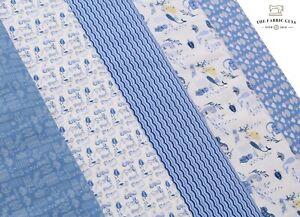 """100% Premium Quilting Cotton Mermaid Seahorse Ocean Pearl Stars Blue Purple 44"""""""