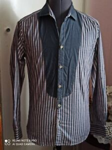 "Ted Baker Designer mens grey striped fitted shirt size 2/ Small/ 38"" excellent"