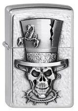 Briquet Zippo Skull Top Hat M. Emblème tete de mort cylindre neuf neuf dans sa boîte Pièce de collection!