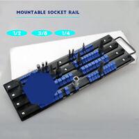 80Pcs Socket Rail Rack Holder Organizer 1/4'' 3/8'' 1/2'' Tray Holder Stand Tool
