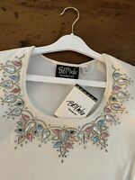 Bob Mackie Blouse Wearable Art Imperial Jeweled Neckline Size M Ivory Lined New