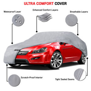 """Ultimate Car Cover Water UV Sun Rain Protection Fits up to 210"""" Lock Included"""
