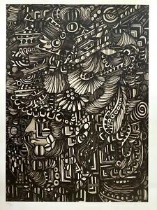 Rene Portocarrero. Serigraph. Figura Ornamentada, 1964. Serigraph on cardboard.
