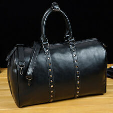 Vintage Style Rivet Leather Weekender Bags For Men Women Duffle Luggage Tote new