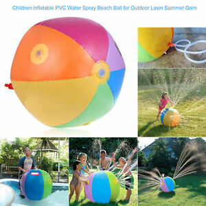 Sloosh Rainbow Water Inflatable Beach Ball Sprinkler Lawn Pool Toy for Kids