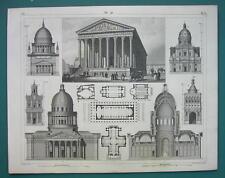 ARCHITECTURE PRINT 1844 - PARIS St. Magdalene Church Potsdam Palermo Rome etc