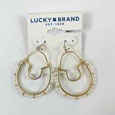 Lucky BRAND Goldtone Faux Pearl Statement Drop Hoop Earrings Jwel4725