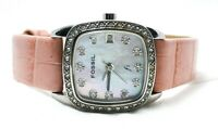 Fossil ES-1013 Women's Square Pink Alligator Leather Glitz Pearl Date Watch