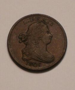 1805 Draped Bust Half Cent HIGHER GRADE near Uncirculated