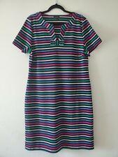 Talbots Navy Multicolor Stripe Shift Dress Bow 100% Cotton NWOT Size XL $89.50