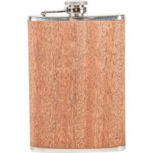 8oz Real SAPELE WOOD Wrap FLASK Screw Cap Top Liquor Whiskey Alcohol Hip Pocket