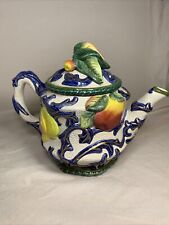 Fitz and Floyd 5 Piece Set Florentine Fruit Teapot, Sugar, Creamer and S&P, Nice