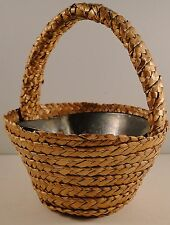 Vintage Small Woven Basket with Tin Dish Insert