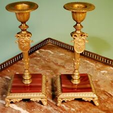 Pair French Gilt Bronze Agate & Putti Candlesticks