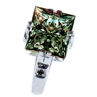 5.48 ct VS1/GRAY GREEN PRINCESS MOISSANITE & NATURAL BLACK DIAMOND SILVER RING