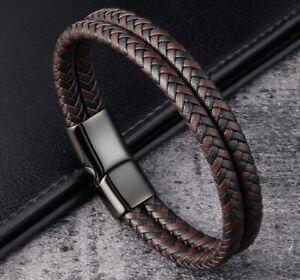 "Men / Women Black Brown Braided Genuine Leather Bracelet Double Band Bangle 6-9"""