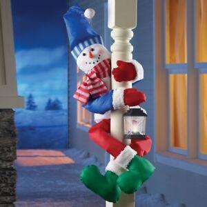 Frosty Snowman w/ Lighted Lantern Christmas Porch Railing Tree Hugger Greeter