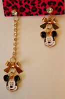 Betsey Johnson Crystal Rhinestone Enamel Mickey Mouse Post Earrings