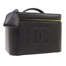 CHANEL CC 2way Cosmetic Hand Bag Vanity Black 5599292 Caviar Leather JT09013
