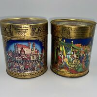 Vintage E. Otto Schmidt Nurnberger Lebkuchen Decorative Round Tins (2) German