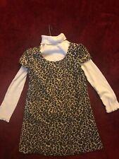 Girls, 'Pinky', Leopard Print Dress w/Cream Turtle Neck, Sz 5T